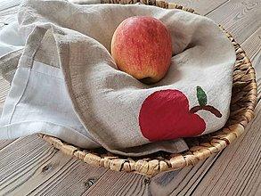 Úžitkový textil - Ľanové utierky s jabĺčkami - 13538278_