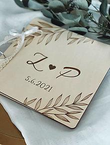 Papiernictvo - Svadobná kniha hostí, drevený fotoalbum - Lístky - 13540905_