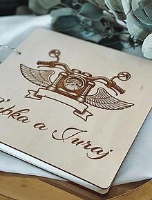 Papiernictvo - Svadobná kniha hostí, drevený fotoalbum - Motorka - 13540931_
