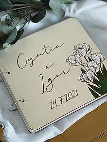 Papiernictvo - Svadobná kniha hostí, drevený fotoalbum - Tulipány - 13541182_