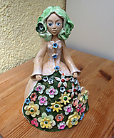 "Dekorácie - ""Anjelik s kvietkovanou sukňou"" - maľovaný zvonec"" - maľovaný zvonec - 13540396_"