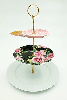Nádoby - etažér ružový ananás - 13540559_