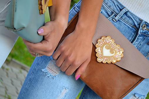 Kožená kabelka ružová Margarétka