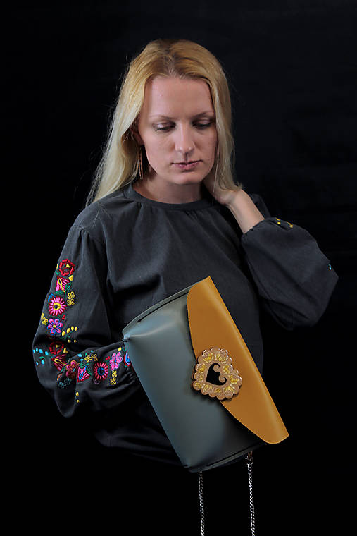 Kožená kabelka žltá Margarétka