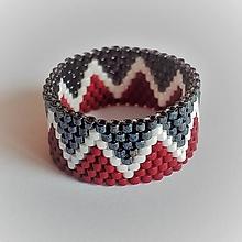 Prstene - Prsteň - dvojfarebný s bielou vlnovkou - 13540111_