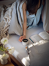 Úžitkový textil - Ľanové posteľné obliečky farba ŠEDÁ (60x40cm 130x90cm - svetlošedá) - 13541058_