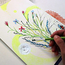 Kresby - Medzi nocou a dňom/ pastelkové kreslenie - 13543103_