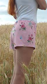 Nohavice - Dámske trenkoše Kvietky na ružovej úplet - 13543267_