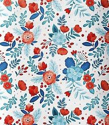 Textil - modro-červené kvety, extra kvalitný 100 % bavlnený satén, šírka 160 cm - 13542784_