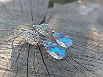 Náušnice - Swarovski pear shaped blue AB - 13542288_