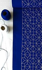 Vyšívaný obrus stredový - modrý, 20 x 138