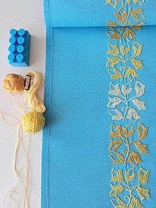 Úžitkový textil - Vyšívaný obrus stredový - tyrkysový, 20 x 138 cm - 13543081_