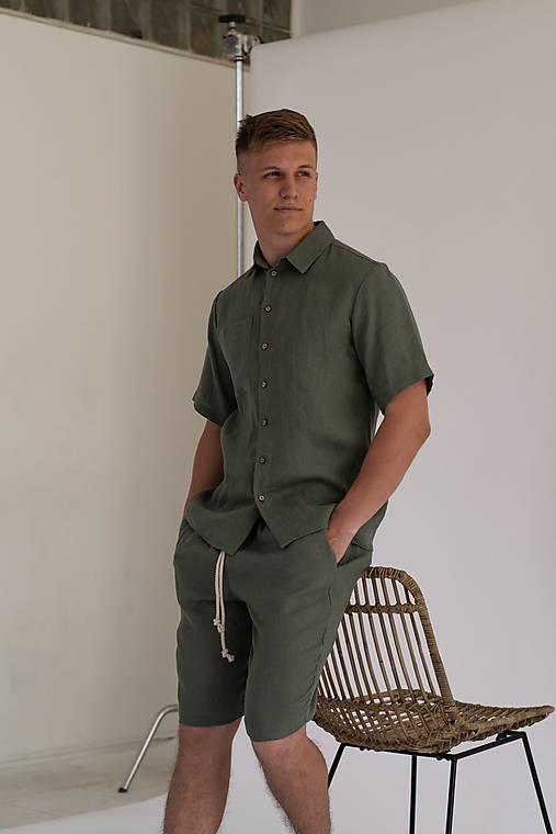 Oblečenie - Ľanová košeľa s krátkym rukávom - 13543256_