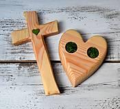 Prstene - Svadobný set - drevený vankúšik a krížik - 13543379_