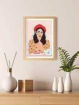 Grafika - Francouzská kavárna - umělecký tisk - 13545233_