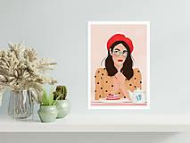 Grafika - Francouzská kavárna - umělecký tisk - 13545234_