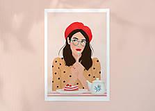 Grafika - Francouzská kavárna - umělecký tisk - 13545241_