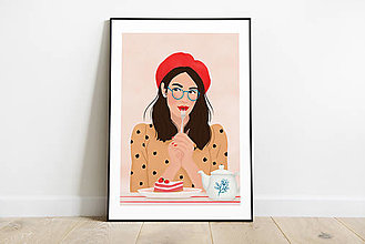 Grafika - Francouzská kavárna - umělecký tisk - 13545240_