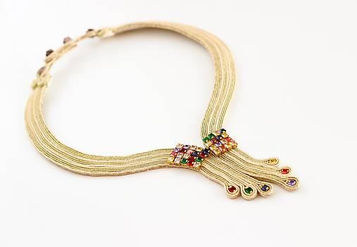 Soutache šujtášový náhrdelník so Swarovski krištáľmi Nina Kolekcia