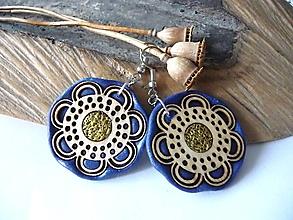 Náušnice - modro-zlaté náušnice-kvitnúce - 13544693_