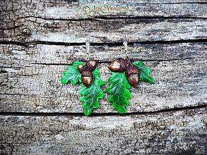 Náušnice - Náušnice s poľovnícky motívom, dubový list a žaluď - 13544964_