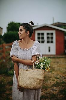 Šaty - Midi šaty s riasením (krátky rukáv) - 13545936_