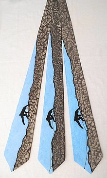 Doplnky - Hedvábná kravata (nejen) pro horolezce - šedomodrá 12611940 - 13544090_