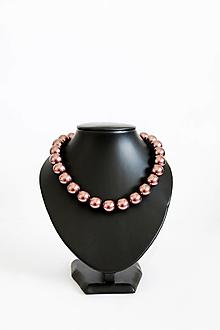Náhrdelníky - perlový náhrdelník - BIG (odtieň burgundy) - 13548201_