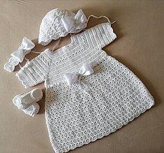 Detské oblečenie - Supravička na krst šaty krátky rukáv, čepček papučky čelenka - 13547766_