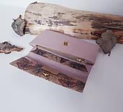 Peňaženky - Dámska korková peňaženka - ružová motýle - 13548427_
