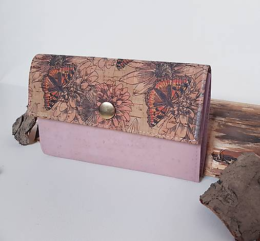 Dámska korková peňaženka - ružová motýle