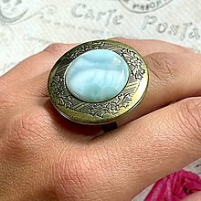 Prstene - Bronze Locket Larimar Ring / Výrazný prsteň s otváracím očkom na fotku - 13549803_