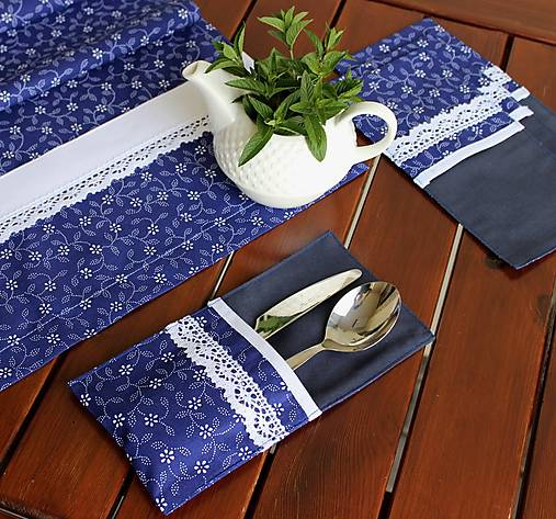 obal na príbor Modrý ♥ (set 4ks)