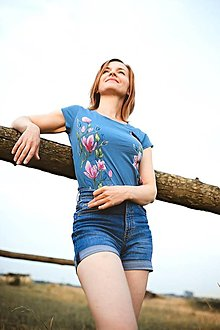 Tričká - Maľované tričko Magnólia denim - 13550683_