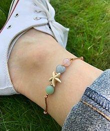 Náramky - Náramok s hviezdicou na nohu - ruženín, jadeit, amazonit  - 13549821_