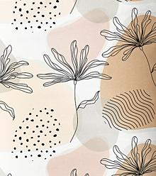 Textil - béžové kvety minimal, extra kvalitný 100 % bavlnený satén, šírka 160 cm - 13550578_