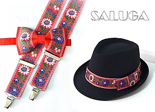 Doplnky - Set - pánsky klobúk, folklórny motýlik a traky - červený - 13550951_