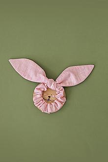 Ozdoby do vlasov - Ľanová scrunchie - ružový uškáčik Zajo - 13549722_