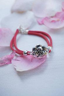 Náramky - Náramok semišový s ružou - 13551484_