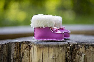 Topánočky - Vlnené kapce ružové - 13550514_
