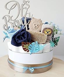 Detské doplnky - Plienková torta-box-levík - 13549377_