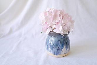 Nádoby - Bud váza z kolekcie Ráno (Modro-sivo-biele lávové prelínanie) - 13552875_