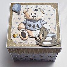 Krabičky - Darčeková krabička na peniaze k narodeniu chlapčeka - 13553699_