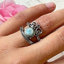 Prstene - Antique Silver Larimar Ring / Vintage prsteň s larimarom - 13554815_