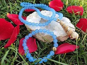 Sady šperkov - Set náhrdelník & náramok ,,Morská modrá,, - 13555781_