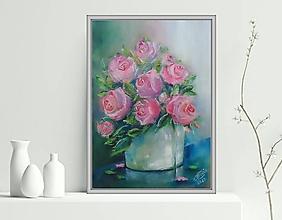 Obrazy - Ruže vo váze 33x24 - 13555454_
