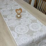Úžitkový textil - REBEKA - biele mandaly na béžovom melíre - behúň 175x40 - 13554972_