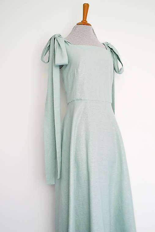 Mintové šaty z ľanu a viskózy s mašľami na ramenách