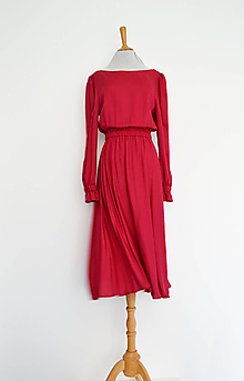 Šaty - Vínové tencelové šaty s elastickým pásom - 13556137_