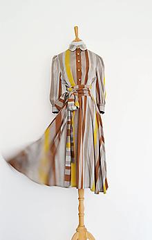 Šaty - Košeľové viskózové šaty s prúžkami v odtieni kávy s viazaním v páse - 13556168_